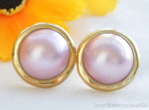 z5796 HUGE REAL 20MM PINK SOUTH SEA MABE PEARL clip silver-gild Earring