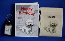 Bichon Frise Gift Set with Birthday Card Canvas Treat Bag and Key Ring