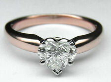 Heart Diamond Classic Solitaire Engagement Ring 14K Pink Gold GIA Flawless