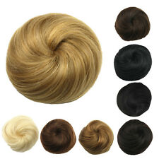 New Women Straight Drawstring Clip In Hair Bun Piece Updo Cover Hair Extensions