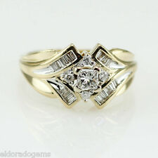 ART DECO COCKTAIL RING 1.00 CT. GENUINE DIAMOND 14K WHITE & YELLOW GOLD size 7