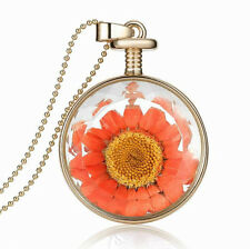 Amazing Gold & Orange Dried Sunflower Round Perfume Bottle Pendant Necklace N386