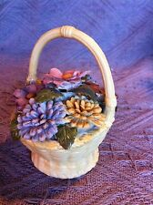 NOS 1980 AVON PORCELAIN BISQUE WEAVED BASKET WITH FLOWERS
