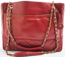 CHANEL Tasche Chain Shoulder Tote Bag Shopper Schultertasche matelassé Rot Red