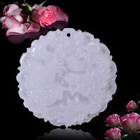 Natural White Jade Hand Carved Necklace Pendant Chinese Dragon Phoenix New Best
