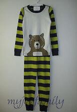 HANNA ANDERSSON Organic Long Johns Pajamas Bear Navy Green Stripe 130 8 NWT