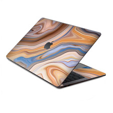 """Skin Decal Wrap for MacBook Pro 13"""" Retina Touch  Brown Blue Marble Glass"""