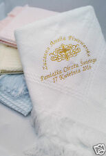 Personalised Baby Christening Shawl Blanket Embroidered in Gold Silver Newborn