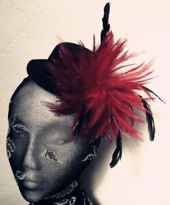 dark red feather black mini top hat fascinator headpiece fancy dress hair clip