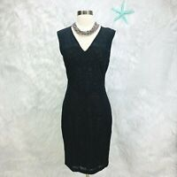 Cache Sexy Black Lace Overlay Dress Lined Sleeveless Womens VTG Sz 10 = Small