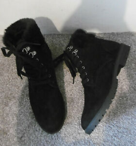 Head Over Heels by Dune Black PIYAH Fur Trim Lace Up Flat Ankle Size UK 8 EU 41