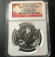 2013 🔥 NGC PF70 $5 CANADA 25th Annv. Silver Maple Leaf Ultra Cameo Proof 1/2 Oz