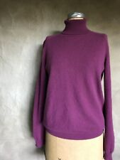 JIL SANDER 100% CASHMERE Turtleneck Sweater WINE BERRY PLUM Women 44 ITALY 8 M L
