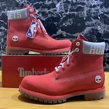 Men's Timberland x NBA Houston Rockets Premium Red Nubuck Size 9.M Boots