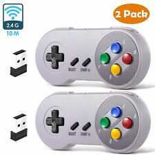 2 Pack Wired/ Wireless SNES USB Controller Gamepad Joystick Super Classic for PC