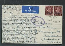 TANGIER MOROCCO AGENCIES (P2504B) KGVI 1 1/2D PAIR ON OAT PPC TO SWEDEN