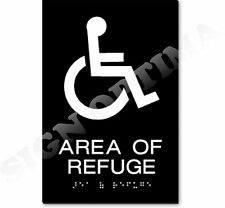 "Ada Compliant Area Of Refuge Braille Sign , 1/8"" Acrylic 6""x9"""