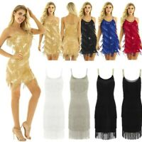 Women Gatsby 1920's Cocktail Party Sequin Fringe Flapper Dress Cocktail Costume