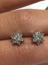 18ct white gold 0.50ct HSI1 diamond CLASSIC CLUSTER DAISY stud earrings GOY122