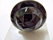 Antique Victorian Era Hat Pin Black Jet Glass Domed Molded