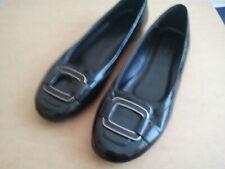 Damen Lack Ballerinas mit Schnallen Größe: 40 Farbe:Schwarz