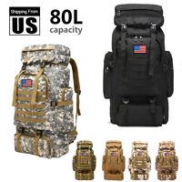 80L Outdoor Military Tactical Rucksacks Camping Hiking Backpacks Trekking Bag