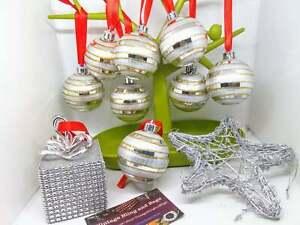 18 1990s silver disco baubles ornaments, star, Christmas decorations, retro