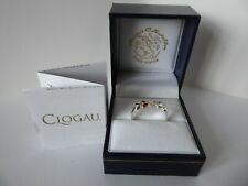 Clogau Gold, Silver & 9ct Rose Gold Diamond Hearts Ring, size O
