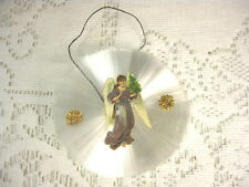 Vintage Spun Glass Ornament with Die Cut Angel in Center with Dresden Stars