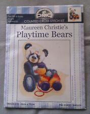 Playtime Bears Tian Tian & Ducky Maureen Christie crosstitch 22 x 25cm 16ct Aida