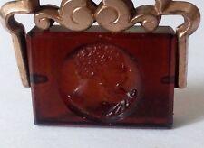 Pendentif intaille sur verre cristal cornaline profil homme grec pomponne 21302