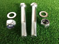 PAIR Tow Bar Tow Ball Bolts 100mm Long C//w Nyloc Nut /& Washer 8.8 HIGH TENSILE