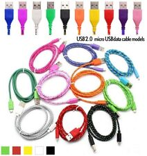 Fast Charge Braided 1M,2M Micro USB Sync Cable Charger For Android Samsung Sony