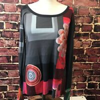 Desigual Women's Size Large Top Shirt Floral Sequin Bright Tunic Red Black
