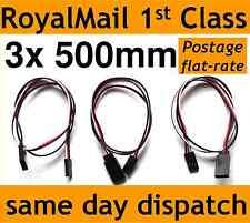 3x 500 mm Servo Extension Lead Cable de alambre para Futaba Receptor Y Servos 3x 50 Cm