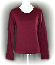 Levis Red Tab Women's Small Shirt Top Pull Over Crew Neck Burgundy Solid Tee USA