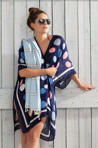 Pastunette Beach ~ Ladies Luxury Kaftan Beach Poncho Cover Up - Navy Blue Spot