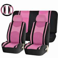 PINK & BLACK POLY MESH AIRBAG READY SPLIT BENCH SEAT COVERS COMBO FOR CARS 1343