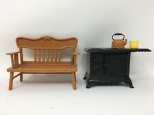 1977 Holly Hobbie Knickerbocker Dollhouse Bench & Antique Style Stove Kitchen
