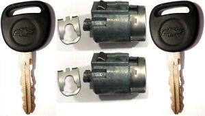 Pair GM OEM Door Key Lock Cylinders - W/ 2 Chevrolet Bow-Tie Logo Matching Keys