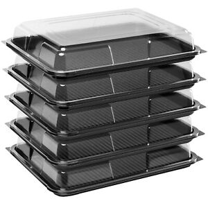 5 x Black Medium Rectangular Sandwich Platters + Clear Lids Cakes Buffets Party
