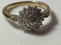 Vintage 9ct 375 Yellow Gold & Diamond Cluster Ring Birmingham MJ 2.9g