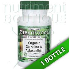 Swanson Organic Spirulina & Astaxanthin 120 Tabs 950 mg/250 mcg