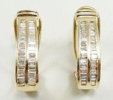 14K Yellow Gold Baguette Diamonds Elongated Hoop Earrings 0.66 CTW Omega Back