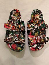"""ASH Multicolor Floral Leather-2 Adjustable Buckles-1.25"""" Slide Sandals-Sz 37 F8"""