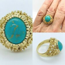 Turquoise Oval Bezel Set 14k Yellow Gold Ring Size 6.25