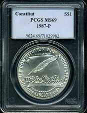 1987-P $1 Constitution Commemorative Silver Dollar MS69 PCGS 71029982