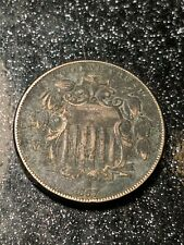 1867 With Rays Shield Nickel 5c Us Type Coin Ch Au