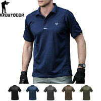 Army Mens Military T-Shirt Combat Shirts Tactical POLO Shirt Quick Drying Casual