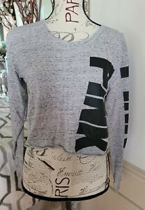 Victoria's Secret PINK Gray With Black Logo Cropped Long Sleeve T Shirt Small